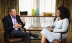 Cyclist Lance Armstrong is interviewed by Oprah Winfrey