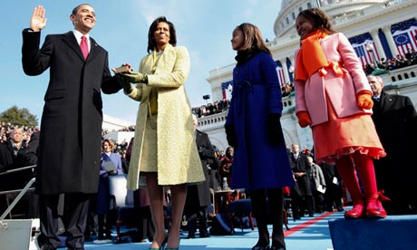 Barack Obama takes the oath of office in January 2009