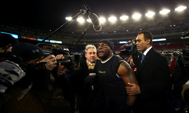 An emotional Ray Lewis is heading back to the Super Bowl to play the last game of a 17-year career after his Baltimore Ravens shut down Tom Brady and the New England Patriots 28-13 in the AFC Championship. Photograph: Elsa/Getty Images