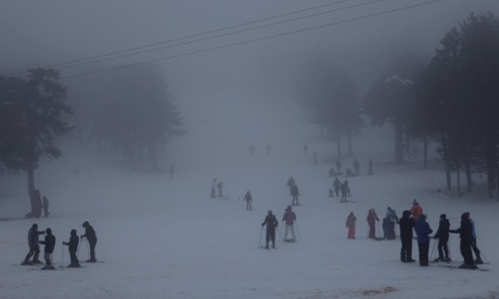 It snows there too! People enjoy the snow on Troodos mountain, some 44 miles of Cyprus's capital Nicosia.
