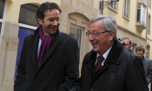 Eurogroup chairman Jean-Claude Juncker (on the right) talks to Netherlands' Finance Minister Jeroen Dijsselbloem in Luxembourg last week.