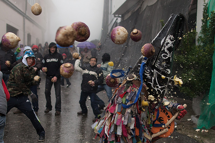 24 hours: Piornal, Spain: People throw turnips at the Jarramplas