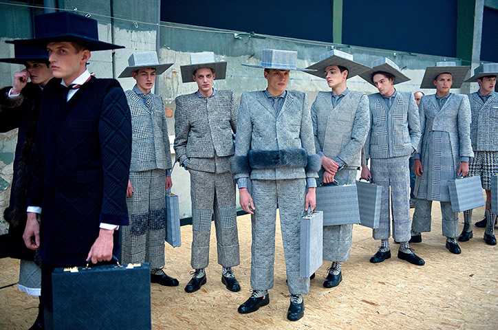 24 hours: Paris, France: Models backstage at the Thom Browne Menswear
