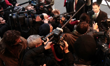 Dutch finance minister Jeroen Dijsselbloem is besieged by the media arrives at today's Eurogroup  meeting. Photograph:  EPA/Olivier Hoslet