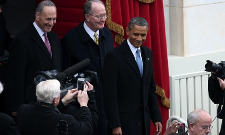 President Barack Obama arrives with Senator Charles Schumer (left) at the West Front of the US Capitol.