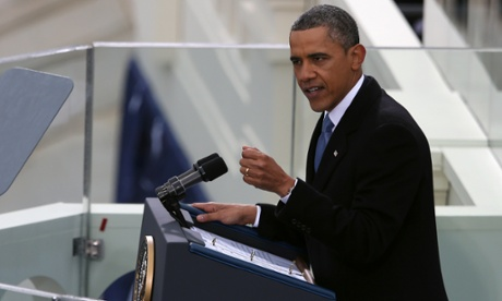 President Barack Obama strikes a solemn note in his inauguration address.