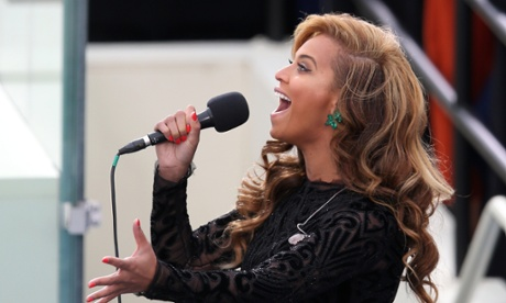 Beyoncé performs the national anthem during the public ceremonial inauguration for Barack Obama.