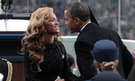 President Obama greets Beyonce after she performed the National Anthem