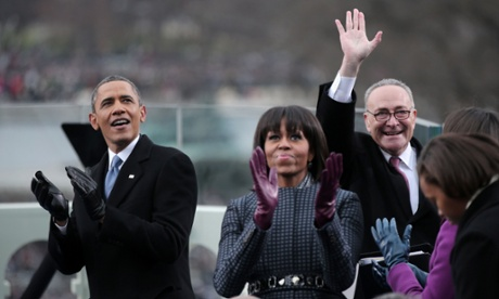 President Obama, Michelle Obama and Senator Charles Schumer during the presidential inauguration.