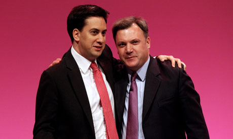 Shadow chancellor Ed Balls and Labour leader Ed Miliband