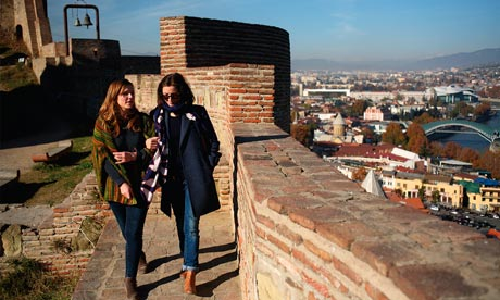 Jessica Hynes and her sister Zoe at the Narikala fortress. Tbilisi, Georgia.