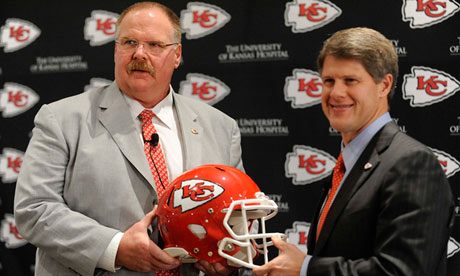 Former Philadelphia Eagles coach Andy Reid poses with Kansas City Chiefs owner Clark Hunt