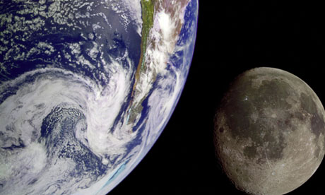 Earth and moon from outer space