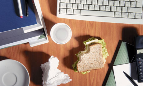 Office desk and sandwich