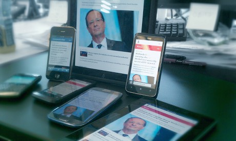 The responsive web: the Guardian's new mobile website as viewed on multiple devices