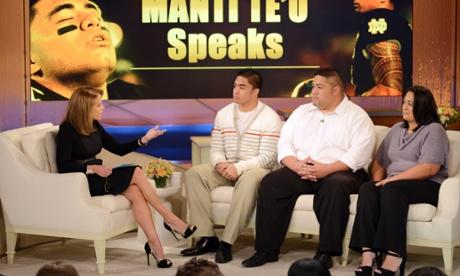 Manti Te'o with his parents Brian and Ottilia.