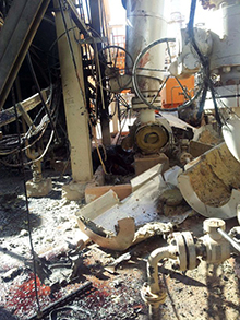 Damage to the In Amenas gas plant. Photo: AP