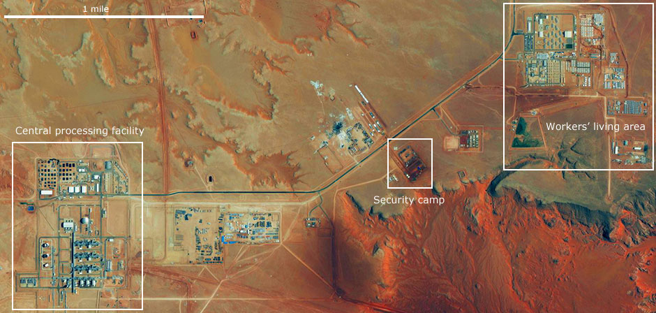 Satellite image provided by DigitalGlobe shows the In Amenas gas field in Algeria. Photo: AP