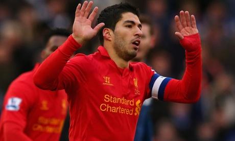 Luis Suárez celebrates his equaliser.