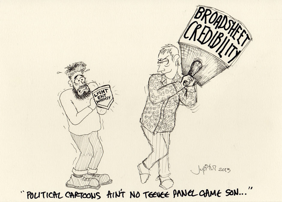 Political cartoons aint no teenee panel game son by Phill Jupitus