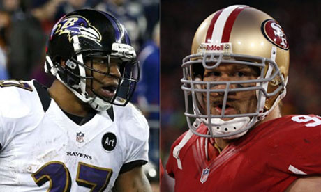 Baltimore Ravens running back Ray Rice and San Francisco 49ers defensive tackle Justin Smith