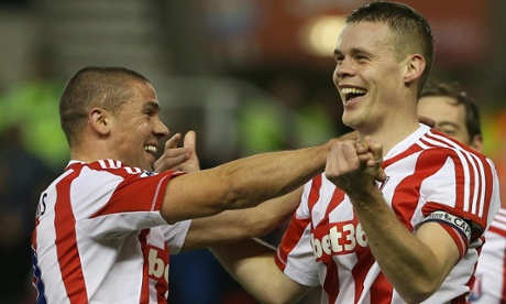 Ryan Shawcross and Jonathan Walters celebrate Stoke's opener