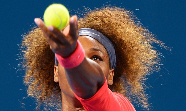 Serena Williams serves up the ball against Sloane Stephens in their quarter-final match at the Brisbane International tennis tournament in Australia. Watch the pre-match interview with Serena.