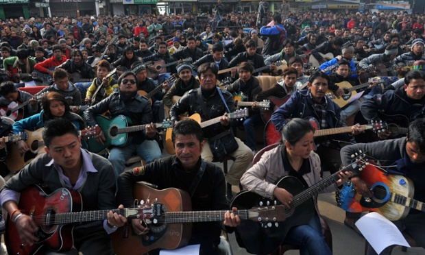 In an extraordinary memorial tribute to the 23-year old rape victim 600 guitarists play John Lennon's 'Imagine' in Darjeeling, India. Five men accused of gang-raping a 23-year-old student on a bus in New Delhi are to be formally charged in court. Read our latest report.