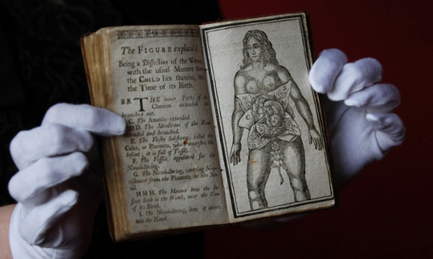 Book specialist Cathy Marsden holds open 'Aristotle's Compleat Master-Piece' before its sale at Lyon and Turnbull auctioneers in Edinburgh. The book, incorrectly attributed to Aristotle and dated back to the 1760s is an early manual for sex and pregnancy which emphasises ideas surrounding female sexuality and was banned in Britain until the 1960s.