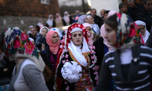 The bride dances with women guests during the two-day ceremony. The inhabitants of the village of Ribnovo are Bulgarian-speaking Muslims, sometimes referred to as 'Pomaks' or 'people who have suffered'.