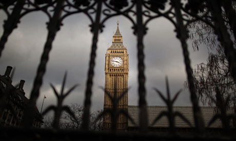Big Ben clock tower behind a fence