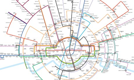 Tube map based on concentric circles