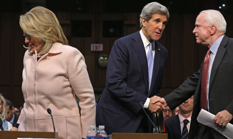 John Kerry with John McCain and Hillary Clinton at the confirmation hearing, 2013