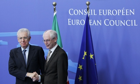 European Council president Herman Van Rompuy meets Italian prime minister Mario Monti before their meeting at the EU headquarters in Brussels this morning.