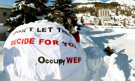 Occupy WEF movement at their camp site in Davos