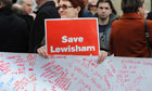 Campaigners protest outside the Department of Health against the proposed Lewisham hospital cuts