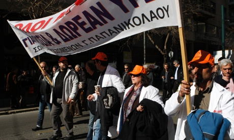 Health sector employees protesting in front of the Greek parliament today.