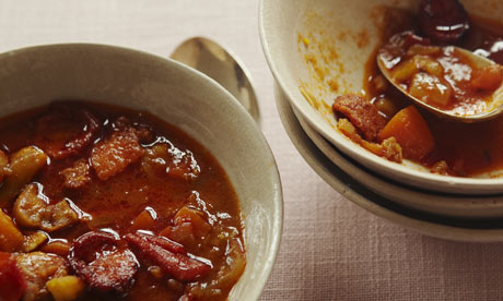 Chestnut and chorizo soup