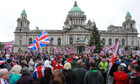 Loyalist march outside Belfast city hall