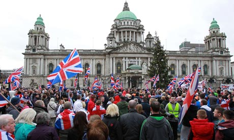 Loyalist march outside Belfast city hall