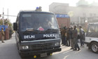 A Delhi police van