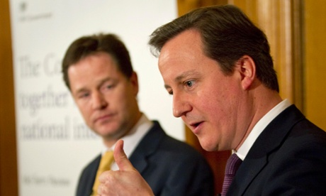 David Cameron and Nick Clegg at their mid-term review press conference.