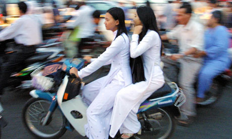 Women on a motorcycle in Ho Chi Minh City