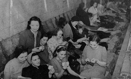 Women and children shelter in Bethnal Green tube station