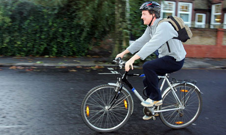 David Cameron on a bike