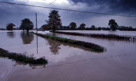 Flooded field in north Wales