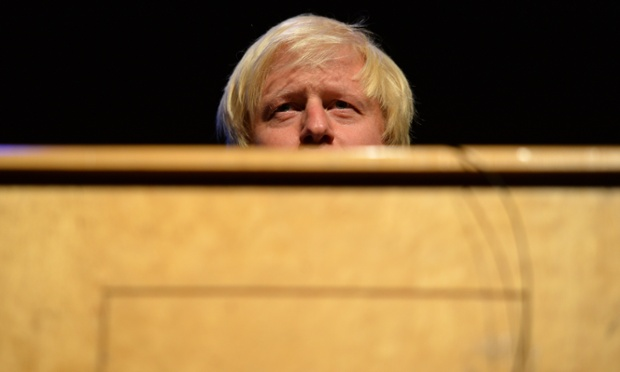 Boris Johnson speaking at a fringe meeting at the Conservative conference last night.