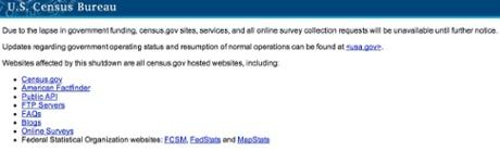 All census bureau sites are offline.