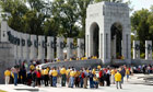 Veterans tour the World War Two Memorial
