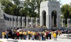 Veterans tour the World War Two Memorial